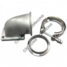 """T2 T25 T28 Turbo Stainless Steel 90 Deg Elbow Adapter Flange + 2.5"""" Vband 304"""