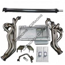 LS1 T56 Transmission Swap Kit Header Oil Pan Driveshaft For S13 240SX
