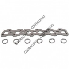 Stainless Exhaust Turbo Manifold flange RB20 RB25 RB25DET RB25-DET + Port Adapter