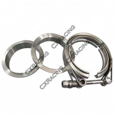 """2.5"""" Self Aligning V-Band Clamp Flange Kit Turbo Exhaust Stainless"""