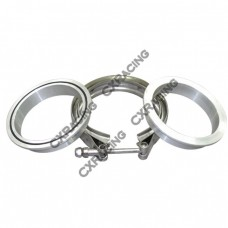 """3.5"""" Stainless Steel V-Band Clamp + 3.5"""" I.D. Aluminum Downpipe Flanges (2 Flanges) with O-ring seal"""