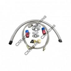 Universal Turbo Oil Line Kit Feed + Return Drain 4AN 10AN For T4 T04B Turbo  Oil Pan Plug