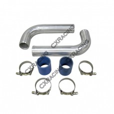 """2 x 2.5"""" OD 90 Degree L Aluminum Pipe + 2 x Silicone Coupler + 4 x T-Bolt Clamp"""