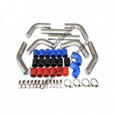 """2.25"""" Aluminum Piping Kit with 2 Elbow Hoses, Mandrel Bent, Polished, 2.0mm Thick, 18"""" Lenght"""