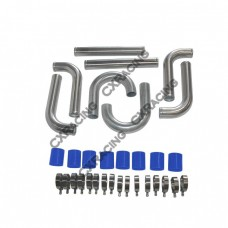 "2"" OD Universal Aluminum Piping Kit, Mandrel Bent, Polished, 2.0mm Thickness Tube, 18"" Length"