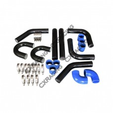 "Universal 3"" 76mm Turbo Intercooler black Aluminum Pipe Piping Silicone Hose Kit"