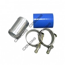 """2"""" OD Aluminum Joiner turbo Pipe 3"""" Long + T-Clamps + Hose"""