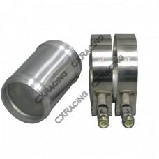 "2"" OD Aluminum Joiner Intecooler Pipe 3"" Long + T-Clamps"