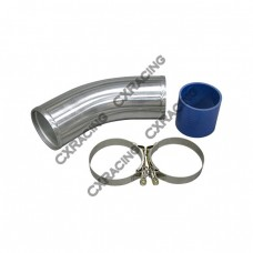 """3.5"""" O.D. Aluminum 45 Degree Joiner Pipe 10"""" Long + Hose + T-Clamps"""