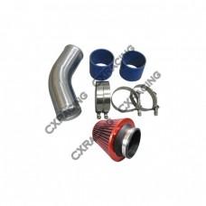 "4"" OD Universal 45 Degree Alum Intercooler Pipe Kit + Hose + Air Filter"