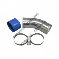 """4"""" O.D. Aluminum 45 Degree Joiner Pipe 10"""" Long + Hose + T-Clamps"""