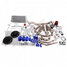 Turbo Header Manifold Downpipe Intercooler Kit for 05-14 Ford Mustang 4.6L V8 NA-T
