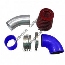 "3.5"" Universal NA Intake Pipe Kit For GM LS1 LSx LMx LQx Motor Blue Hoses"
