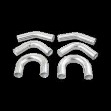 "Universal aluminum pipe Piping Kit 3"" 6 pcs Exhaust 45 90 U Pipe"