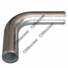 "2.25"" 90 Degree Mandrel Bent Polished Aluminum Pipe, 2.0mm Thick Tube, 18"" Length"