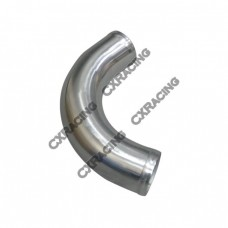 "2.25"" OD 120 Degree Aluminum Pipe, Mandrel Bent Polished, 2mm Thick Tube, 10"" Length"