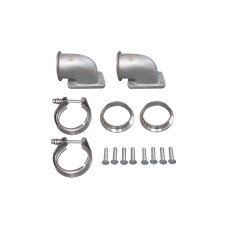"""2.5"""" Vband T3 Turbo 90 Degree Elbow Adapter Flange 304 SS Cast + Clamp 1 Pair"""