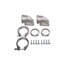 """3"""" Vband T4 Turbo 90 Degree Elbow Adapter Flange 304 SS Cast + Clamp 1 Pair"""