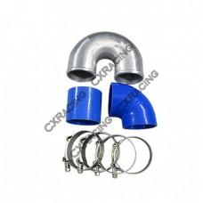 """3"""" Cast Aluminium Elbow U 90 deg Straight Hose Clamp Intercooler Pipe"""