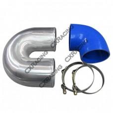 """4"""" Cast Aluminium Elbow U + 90 deg Hose Clamp Intercooler Turbo Pipe"""