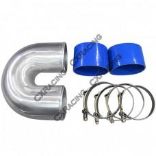 """4"""" Cast Aluminium Elbow U + 2 Hose Clamp Intercooler Turbo Pipe Intake"""