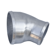 """Polished Cast Aluminum 45 Degree 4"""" - 3"""" O.D. Reducer Elbow Pipe"""