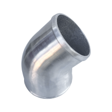 """Polished Cast Aluminum 45 Degree 4""""- 3.5"""" O.D. Reducer Elbow Pipe"""