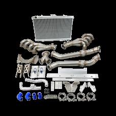 LS1 Engine T56 Trans Mount Header Downpipe Radiator Kit for Mazda RX7 FC LS