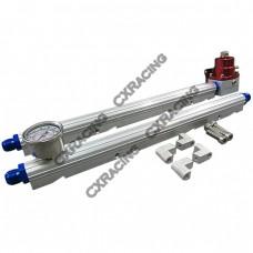 Billet Aluminum FuelRail Fitting AN8 + Gauge Regulator For GM LS1 LS2 LS6 LS7