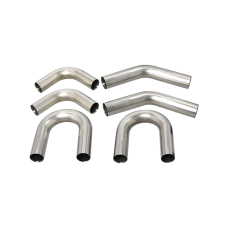 "Universal Stainless Piping Kit 2.5"" 6 pcs Exhaust Straight 45 90 U Pipe"
