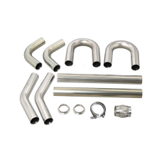 """Universal Stainless Piping Kit 2.5"""" 8 pcs 45 90 Exhaust Flex Pipe Vband"""