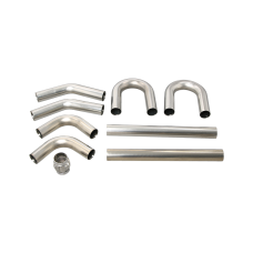 """Universal Stainless Piping Kit 2.5"""" 8 pcs 45 90 + Exhaust Flex Pipe"""