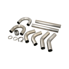 "Universal Stainless Piping Tube  Kit 3"" 8 pcs 45 90 + Exhaust Flex Pipe Vband"
