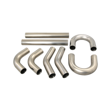 "Universal Stainless Piping Tube  Kit 3"" 8 pcs Exhaust Straight 45 90 U S Pipe"