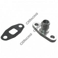 Aluminum Turbo Oil Return Drain Flange + Gasket T3 T04E