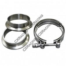 """2.0"""" V-Band Clamp + 2.0"""" I.D. Flanges (2 Flanges) , 304 Stainless Steel , CNC Billet Flange"""