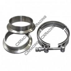 """2.25"""" V-Band Clamp + 2.25"""" I.D. Flanges (2 Flanges) , 304 Stainless Steel , CNC Billet Flange"""