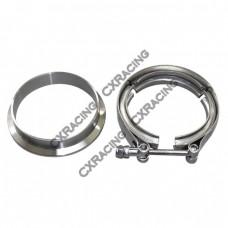 """3.5"""" V-Band Clamp + 3.5"""" I.D. Flange , 304 Stainless Steel , CNC Billet Flange"""