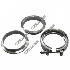 """3.5"""" V-Band Clamp + 3.5"""" I.D. Flanges (2 Flanges) , 304 Stainless Steel , CNC Billet Flange"""