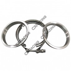 "3.5"" Self Aligning V-Band Clamp Flange Kit Turbo Exhaust Stainless"