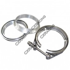 "4.0"" Stainless Steel V-Band Clamp + 4.0"" I.D. Aluminum Flanges (2 Flanges) with O-ring seal"