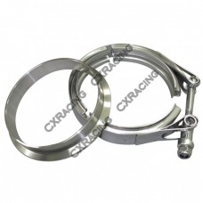 "4"" V-Band Clamp + 4"" Downpipe Flange , Stainless Steel, CNC Machined Flange"