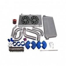 Intercooler Piping Intake Radiator HardPipe Fan Kit For 2JZ-GTE 2JZ Swap 240SX S13 S14 Stock Turbo