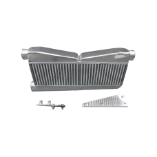 27x16.5x3.5 2-In-1-Out Intercooler + Brackets For 79-93 Ford Mustang Camaro