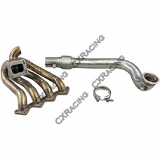 T3 T4 Top Mount Turbo Manifold & Downpipe For Civic Integra LS GSR