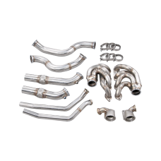 Twin Turbo Manifold Header Downpipe Kit For 60-66 Chevy C10 Truck BBC Big Block 402 454