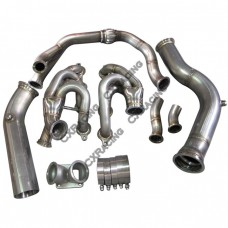 Single Turbo Manifold 3.5'' Downpipe For 240SX S13 S14 LS1 LSx Swap T4