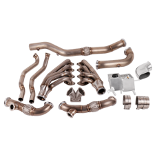 T4 Turbo Header Manifold Downpipe Kit for 05-14 Ford Mustang 4.6L V8 NA-T