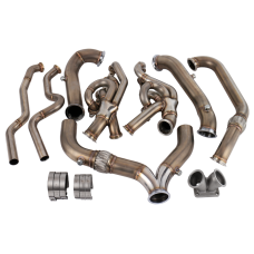 Turbo Header Manifold Downpipe Kit For 13-15 Camaro LS3 6.2 Engine