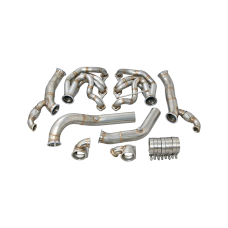 Twin Turbo Manifold Header Downpipe For 60-66 Chevy C10 Truck SBC Small Block